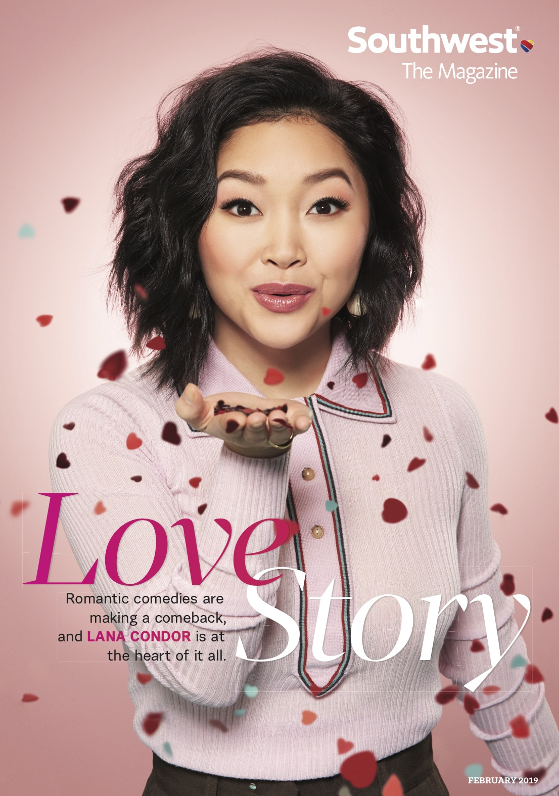 Lana Condor featured on the cover of Southwest Magazine February 2019